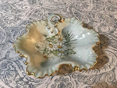 Vintage Limoges Tray with botanical design bright yellow and gold edges surround a beautiful flower in the center Gorgeous Limoges ashtray