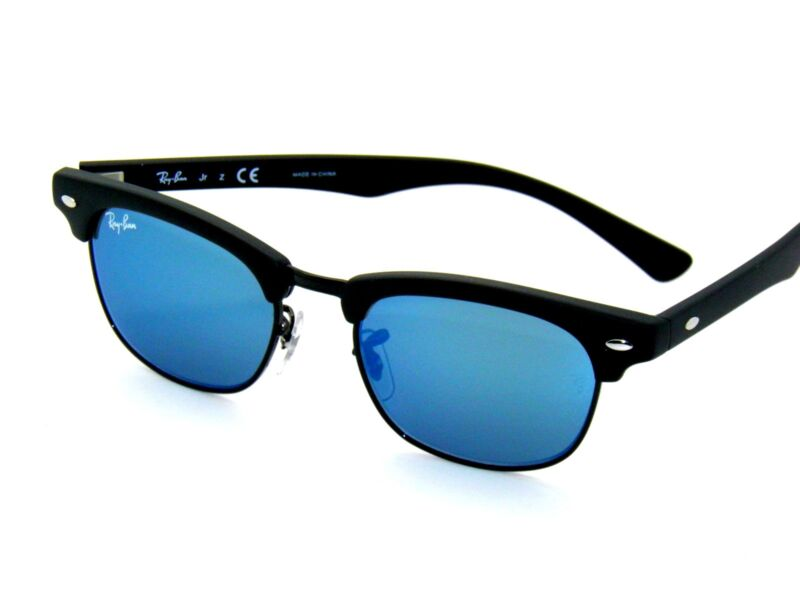 RAY BAN kids sunglasses RJ 9050S MATTE BLACK/BLUE MIRROR 100S55 JR 9050