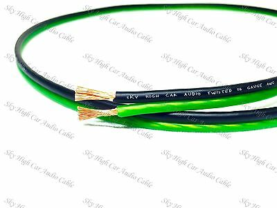 25  Feet True 16 Gauge Awg Green Bk Speaker Wire Car Home Sky High Ft