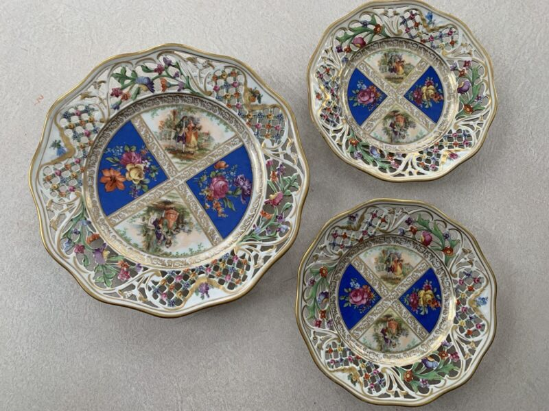 3 BAVARIA SCHUMANN  Dresden RETICULATED PLATES Courting Pierced Blue