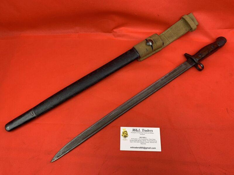 Original WWI/WW2 British 1907 Enfield Bayonet SMLE Sanderson With Frog 303