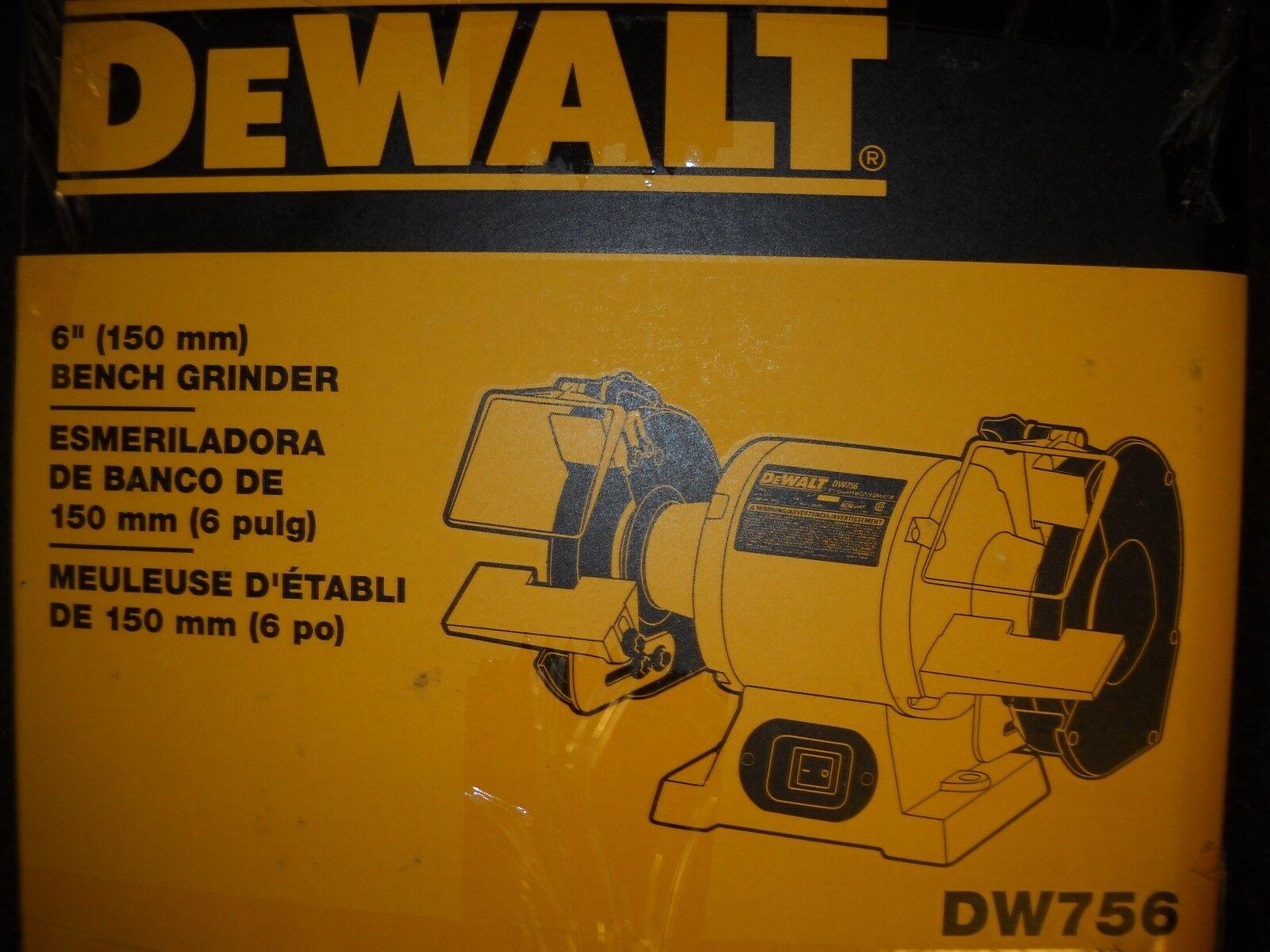 """DEWALT DW756 6"""" Bench Grinder 5/8 HP 3,450 rpm NEW"""