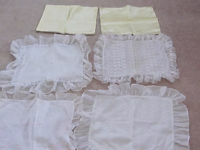 LACEY BABY BED / CARRIAGE PILLOW SHAMS & LINER KRAUSKOPF SWITZERLAND VINTAGE LOT