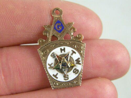 Vintage Antique 10K Solid Gold Enamel Masonic Mason