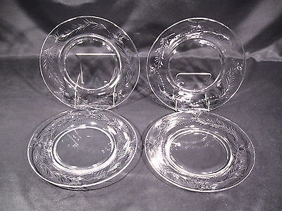 """Hawkes Glass Co. Louise Salad Plates Cut 7375 8 3/8"""" dia. Group of 4"""
