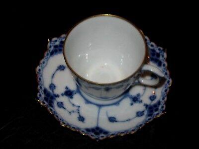 ROYAL COPENHAGEN Blue Fluted Full Lace Gold Trim Demitasse Cup+Saucer w/Sm.Chip