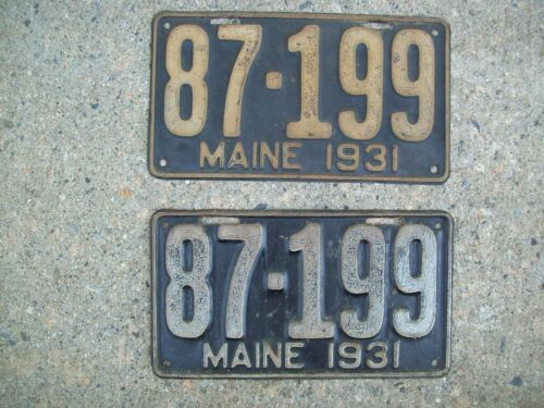 1931 PAIR Maine / Me. LICENSE PLATE #87-199 Chevy-Ford-Dodge-GMC