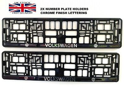 2x Car Number Plate Surround Frames Best fit tech VW domed silver chrome