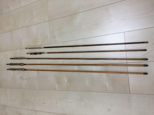 Japanese Vintage old Bamboo Arrow Feather 5p Kyudo