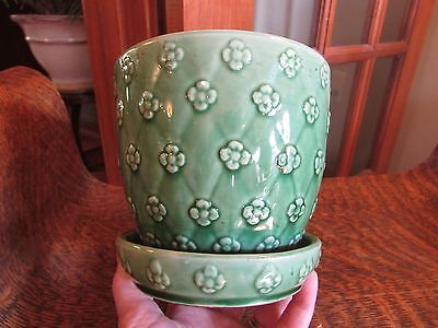 VINTAGE SHAWNEE POTTERY GREEN FLOWER POT, QUILTED DAISY DIAMOND PATTERN, 5""