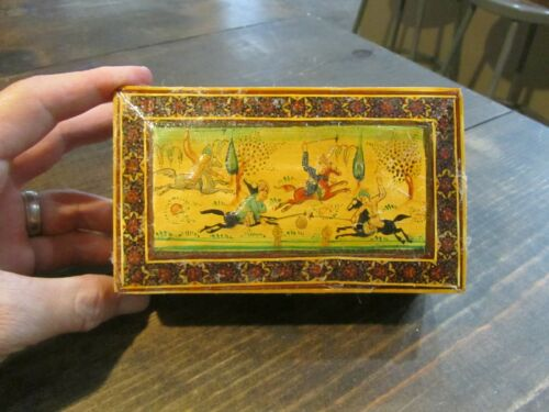 Vintage Persian Khatam Wood Box Jewelry Trinket Hand Painted Marquetry