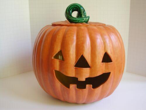 Halloween Ceramic Jack-O-Lantern Orange Pumpkin w/Removable Lid - VGC