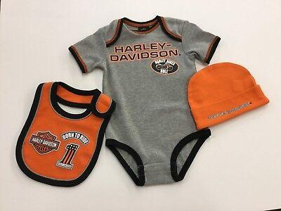 Harley-Davidson Baby Boy's Newborn 3 Piece Creeper Harley Boys 3 Piece