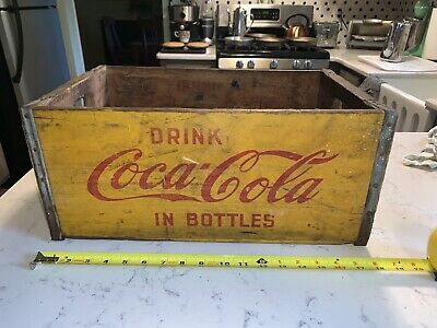 Rare Vintage Full Size Coca Cola Yellow Wood Crate Coke Box Onlzed Containers