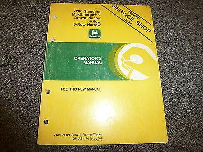 John Deere 7200 4 6 Row Narrow Drawn Planter Owner Operator Manual Oma51174