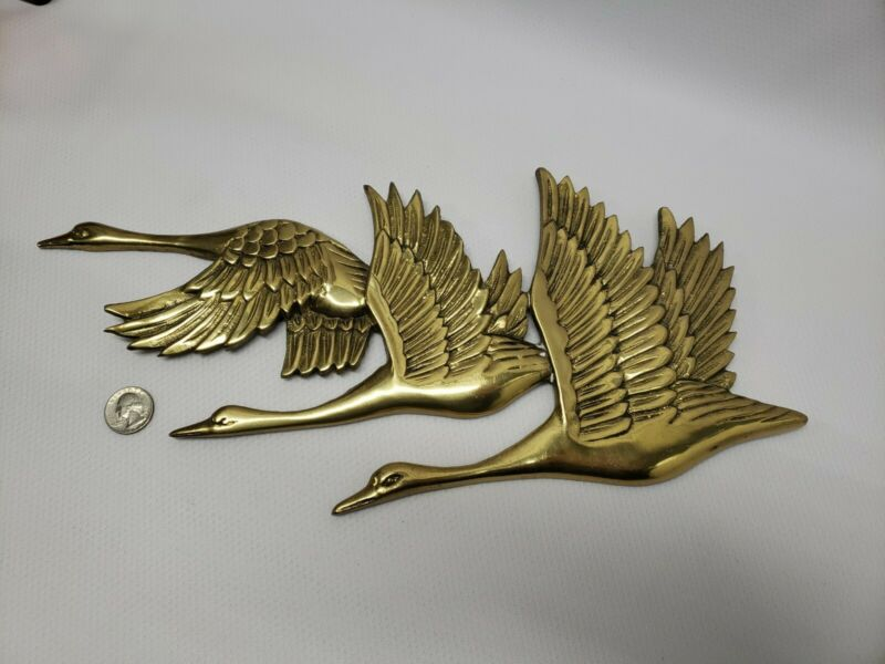 """Vintage Three Flying Birds Geese Heavy Solid Brass Wall Hanging Decor 16"""" X 8"""""""