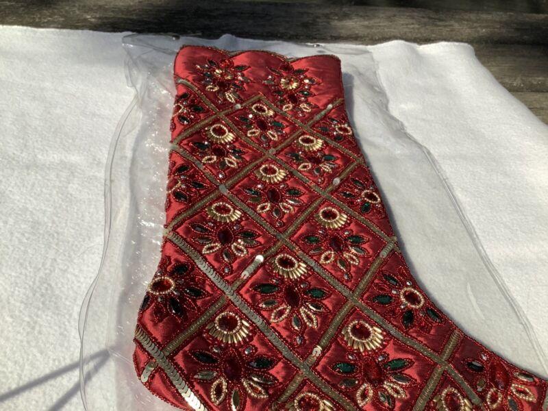 Kim Seybert Versailles Stocking Red Green Beaded #1
