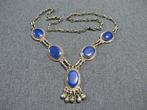 Vintage tribal inlay lapis silvertone metal medallions necklace with dangles