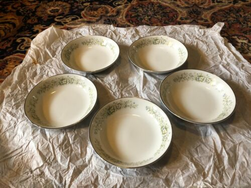 "5 Dream Time Oxford 5-1/2"" Fruit Dessert Bowl Pastel Floral Platinum Trim Japan"