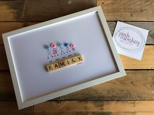 PERSONALISED HANDCRAFTED BUTTON ART - FAMILY PICTURE - THE PERFECT GIFT