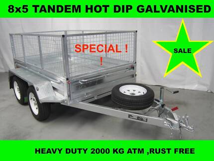 8x5 HOT DIP GALVANISED TRAILER 2000KG GVM ON SALE NOW