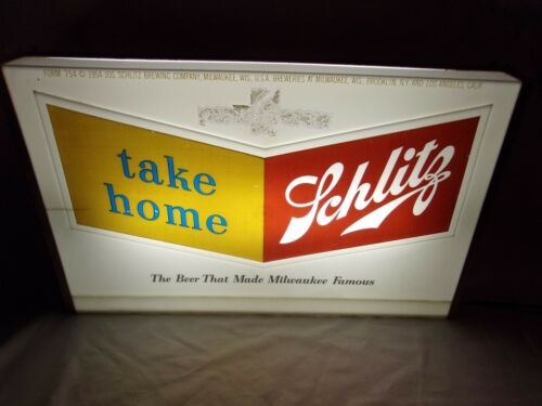 Schlitz Beer Lighted Bar Tavern Sign 1950