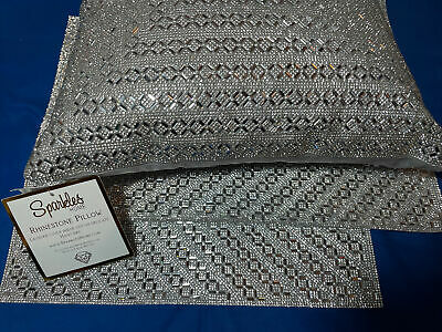 Sparkles Silver Rhinestone Throw Pillow Home Madison Ave Placemat 3 Pc Set New!