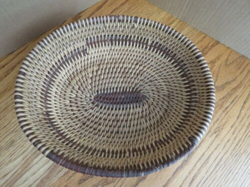 Vintage Hand Woven Coil Basket Oval West Africa Guinea Brown Rim