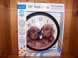 "La Crosse Illuminations 10"" Glowing Hands Wall Clock Baby Chocolate Lab Puppies"