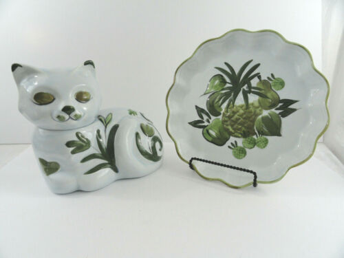 Los Angeles Pottery Happy Cat Cookie Jar & Scalloped Fruit Serving Platter Plate