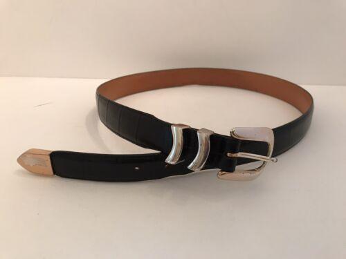 Onyx by Brighton Men's Belt Size 36 Metallic Black Leather C