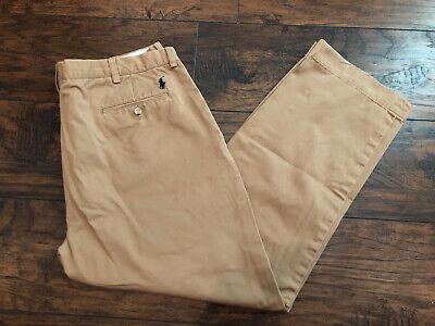 Polo Ralph Lauren Preston Brown Khaki Pants Chino Flat Front Mens 38x30 39x30