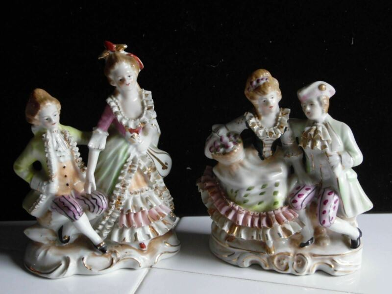 Pair Of Vintage Victorian Couple Figures Made In Japan
