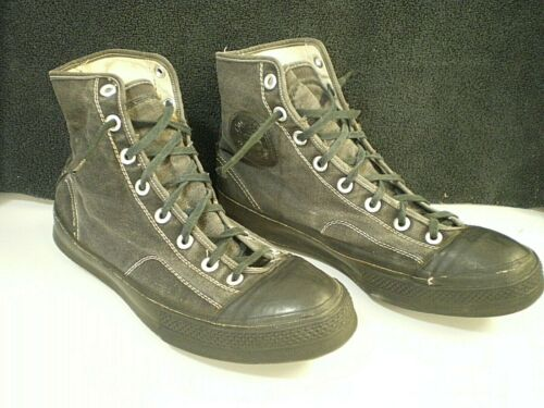 Vtg 50s CONVERSE Chuck Taylor HIGHTOP FOOTBALL CLEATS Black Size 9 ATHLETIC SHOE
