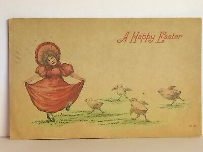 PostCard A Happy Easter Little Girl Red Dress & Chicks Posted 3-13-1910 Vintage
