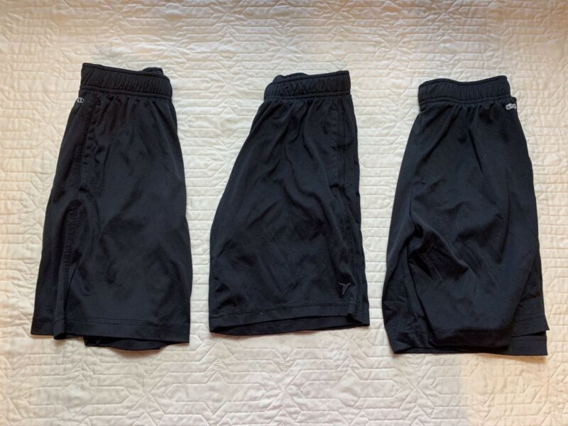 Old Navy Active Go-Dry Black Athletic Shorts Boys Size 8, Lot Of 3