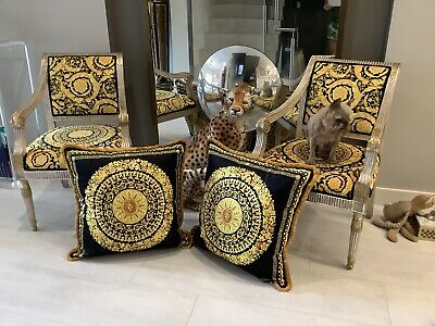 "Pair Of2-custom Made Versace Black Good Velvet Oversized 28""28""with Gold Fringe"