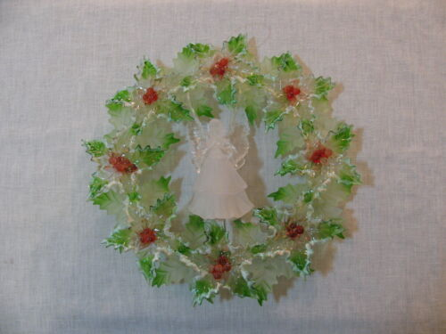 Green/Clear Acrylic LED Lighted Christmas Wreath w/Angel in Center, Unbranded