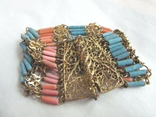 Vintage 1920s coral faience Egyptian revival linked bracelet