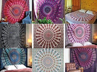 Indische Pfau Mandala Wandteppich Wohnheim Dekor Twin Tagesdecke Hippie werfen (Hippie Decke Werfen)