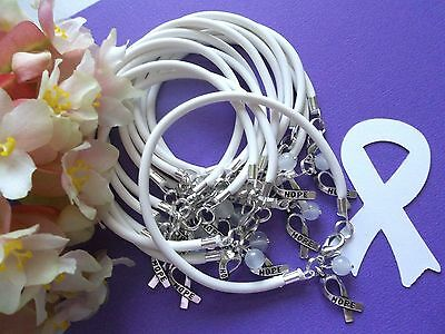 1 DZ LUNG CANCER AWARENESS  BRACELETS/WHITE /'HOPE' RIBBON CHARM   - Cancer Awareness Bracelets