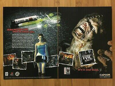 Resident Evil 3: Nemesis PS1 1999 Vintage 2-PAGE Print Ad/Poster Official Art