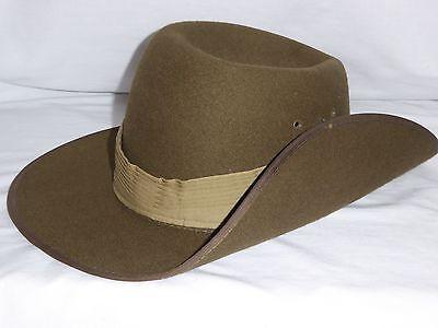 AUSTRALIAN MOUNTCASTLE AUSSIE MILITARY FORCES SLOUCH HAT W/CLIP 100% WOOL FELT!
