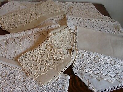 12 Vintage linen mix chair back covers, Nottingham lace antimacassars 2 sets