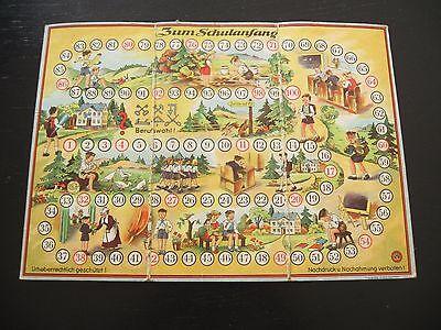 altes DDR Gesellschaftsspiel Spielbrett Zum Schulanfang von 1954