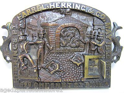 Antique Farrel Herring & Co Fireproof Safe Plaque Sign pat 1852 Phila ornate dtl