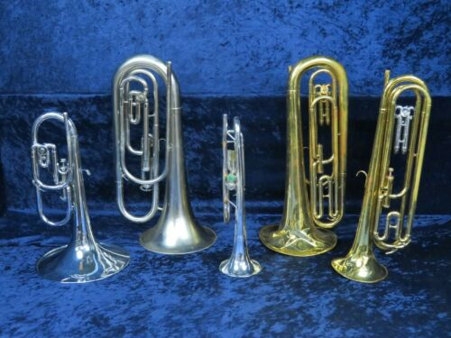 Lot of 5 Corp Bugles Playing/Non Playing #isi8934-19 Olds/DEG Dynasty II/etc