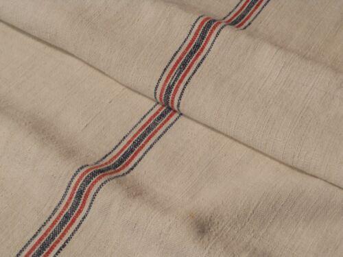 Antique European Feed Sack GRAIN SACK Red & Blue Stripe # 10508