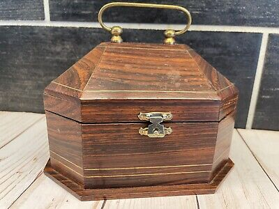 Gift for Her Florentine Jewelry Box Assorted Tea Chest Organizer Vintage Italian Burlwood Jewelry Box with Mirrored Lid