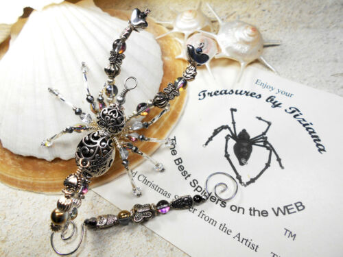 TreasuresbyTiziana® Christmas Beaded Silver Heart Scorpion Scorpio Ornament Gift